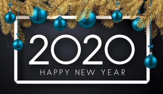 Happy New Year 2020 shiny poster with fir branches and blue Chri