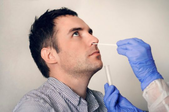 doctor taking nasal mucus test sample from male nose performing respiratory virus testing procedure. Checking the nasal cavity in ENT.